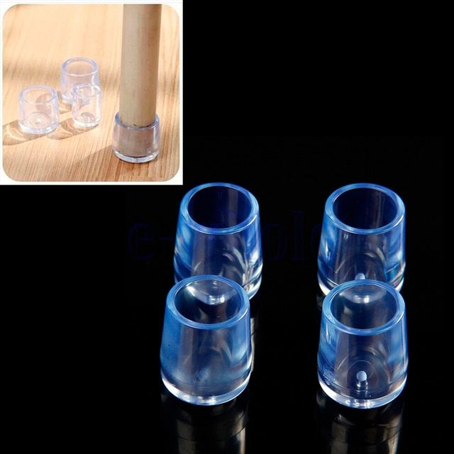 4Pcs Transparent Rubber Furniture Caps Table Chair Leg Floor Mat Cover Protector Round Internal Diameter 21mm Furniture Legs