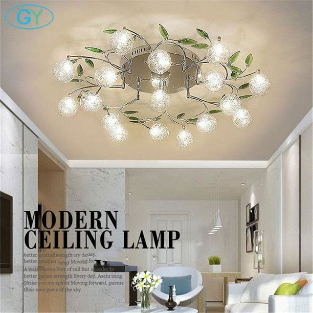 AC110V 220V modern Art design LED chandelier lustre aluminum wire lamp chandeliers crystal green leaf decor ceiling mount lights