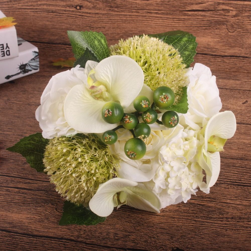 Silk flower wedding bouquet Rose Orchid Berry Artificial flowers fall vivid fake leaf wedding flower bridal bouquets decoration