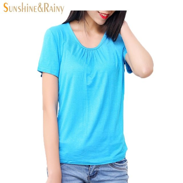 2016 summer Fashion women t-shirts Ladies loose short sleeve candy color tops and tees Comfortable Elastic tops plus size 6XL