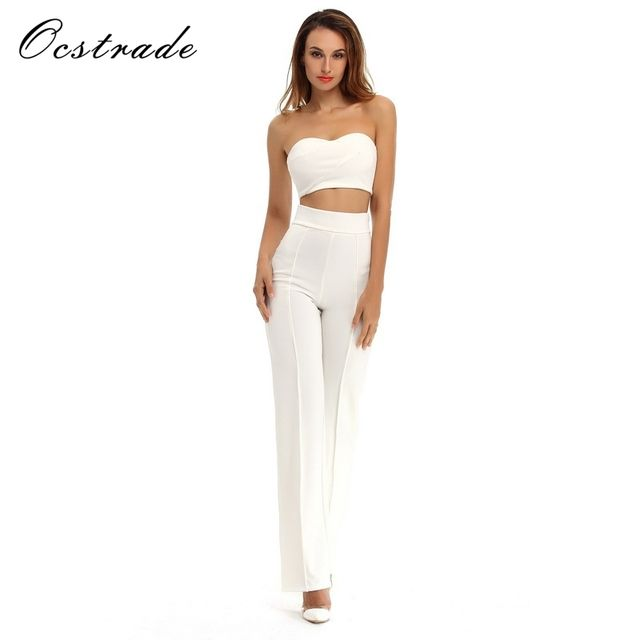 Ocstrade Summer Bodycon Jumpsuit New Arrival 2017 Wide Leg White Black Jumpsuit Women Sexy Rompers Two Piece Jumpsuit Set