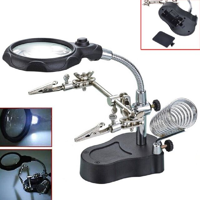 New Adjustable 3.5X 12X Hand Magnifying Glass LED Auxiliary Clip Magnifier Soldering Solder Iron Stand Holder Station