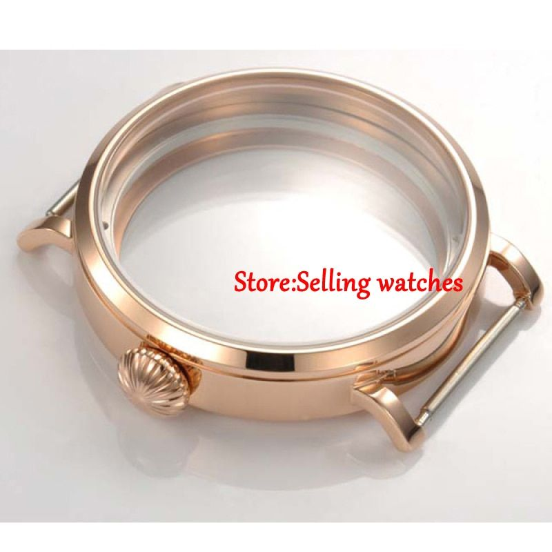 46mm Parnis Rose Gold   CASE fit eta 6498 6497 hand winding eat movement