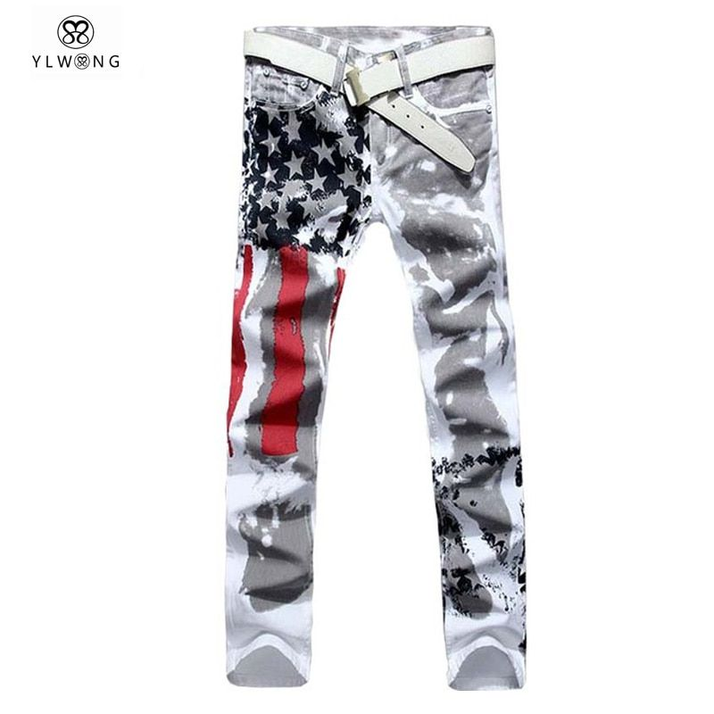 Mens Printed Jeans Plus Size Flag Printing Design White Jeans For Men Stars Striped Straight Ripped Jeans Male 36
