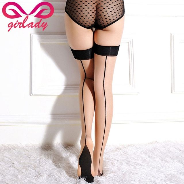 2 Pcs/set Sexy Women Knee-High Compression Stockings Back Seamed Nylon Thigh Long Female Stockings Stay Up Stockings Sex Clothes