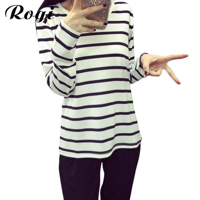 Rogi Sweatshirts Women 2017 Long Sleeve Cotton Jumper Hoodies Pullovers Casual Stripe Tracksuit Coat Tops Sudaderas Mujer XXL