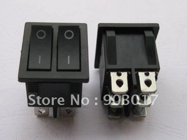 30 pcs Black ON/OFF DPDT Rocker Switch KCD3 6 Terminal