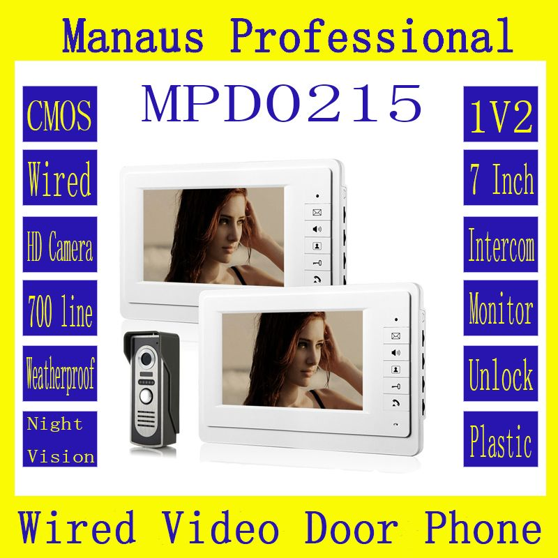 HighQuality Wired SmartHome 7Inch TFT LCD Screen Video Intercom Phone,One to Two Video Doorphone Doorbell Configuration D215a