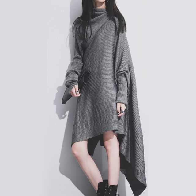 [TWOTWINSTYLE] 2017 Autumn Long Sleeves High Collar Knitting Irregular Dress Women New Fashion Clothing