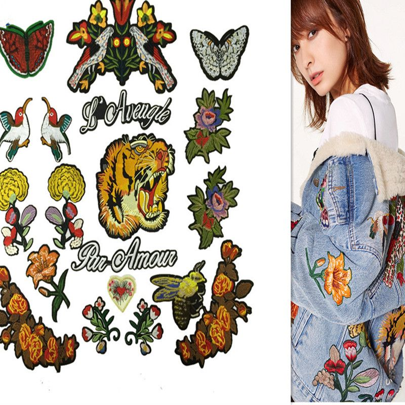 SASKIA 19Pcs No Repeat Patch Tiger Butterfly Flower Bee Bird Embroidery Patches Applique Sewing Iron On Clothes Jean Jackets Diy