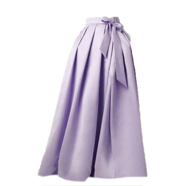 Casual Long Female Satin Skirt Variety Color Woman Pleated Satin Skirt Floor Length Zipper Waist With Bow Women Summer Gowns