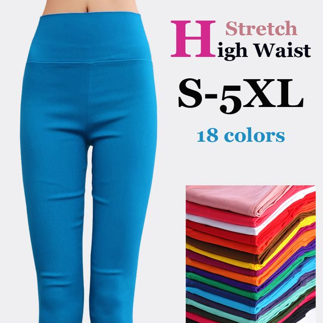 {Guoran} women high stretch cotton leggings 18 candy color ladies high waist pencil pants plus size S-6XL female skinny Trousers
