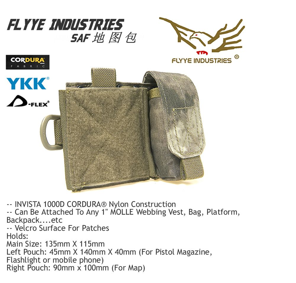 FLYYE MOLLE Map Pouch Waterproof Molle SAF Admin Panel Multicam AOR AU FG Wargame Airsoft Hunting Tactical Camp Outdoor C015