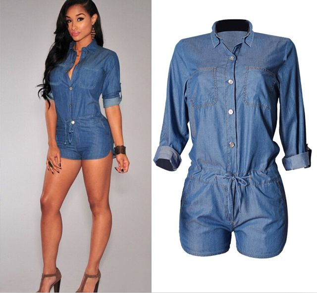 2016 Ladies Hot Style High Quality Denim jumpsuit Turn Down Collar Long Sleeve Femme Womens Fashion Short Summer Casual Wears