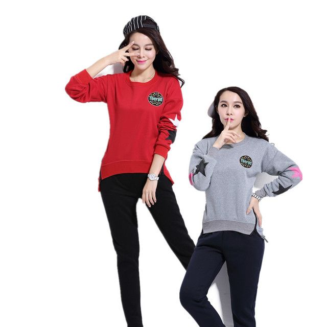 Autumn Winter Women Cotton Tracksuit 2 Piece Set Clothing Solid Sportwear Suit Woman Irregular Hoodies Set Costumes Plus S-3XL