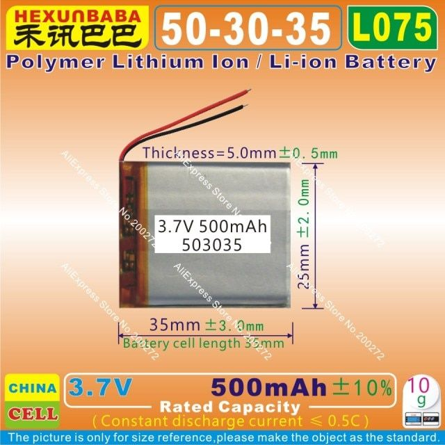 4pcs [L075] 3.7V,500mAH [503035] PLIB (polymer lithium ion / Li-ion battery ) for Smart watch,mp4,cell phone,speaker,GPS,mp3