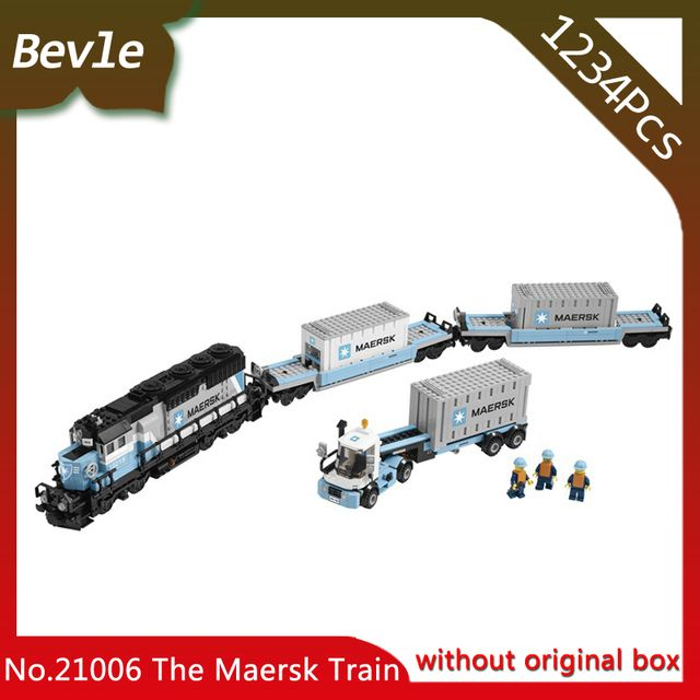 Bevle Store Lepin 21006 1234Pcs Genuine Technic Series The Maersk Train Building Blocks For Children Toy 10219 With Original Box
