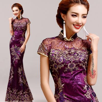 Purple Vintage Evening dress Short sleeve long cheongsam dress chinese traditional dress qipao evening dresses gown plus size