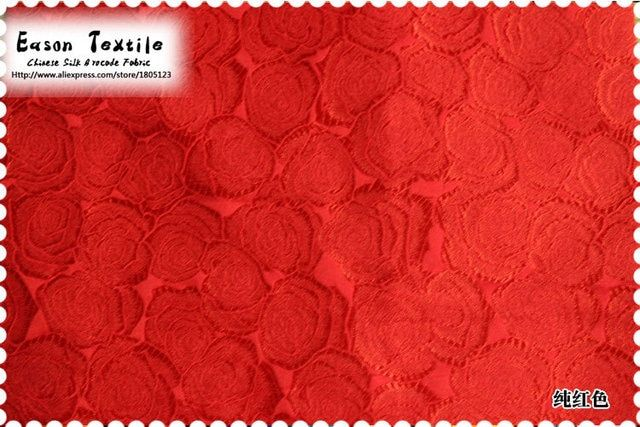 Cheongsam Fabric traditional Chinese silk brocade cushion popular red Rose design for table runner, dress, bag, costum