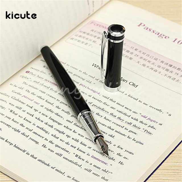 Kicute 3035 High Quality Pure Stainless Medium Nib 0.5mm Study Business Fountain Pen Gifts Decor Executive Caneta