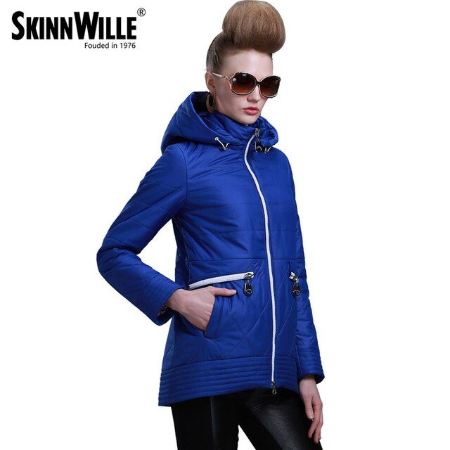 SKINNWILLE2017 New Spring Warm women Cotton  coat padded Coat Women's Clothing Three Quarter Sleeve Coat Jacket Windbreaker