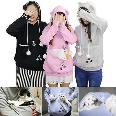 New long Sleeve Sweatshirts Womens Hoodies Pet Holder Cat Dog Kangaroo Pouch Carriers Pullover Coat Costume