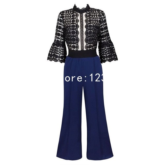 Black White Patchwork Lace Long Sleeves Long rompers womens jumpsuit Fashion combinaison Long femme  62830