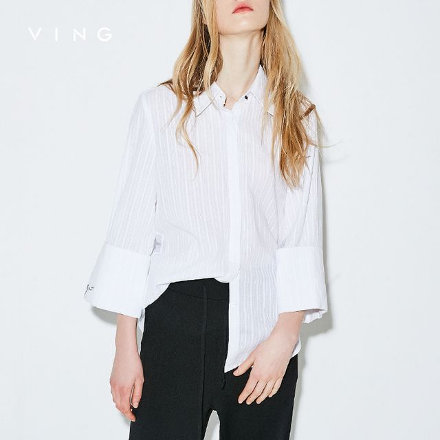 VING Casual Solid Shirts For Office Ladies Autumn Three Quarter Sleeve White Blouses Fashion 2018 Embroidery Striped Women Blusa