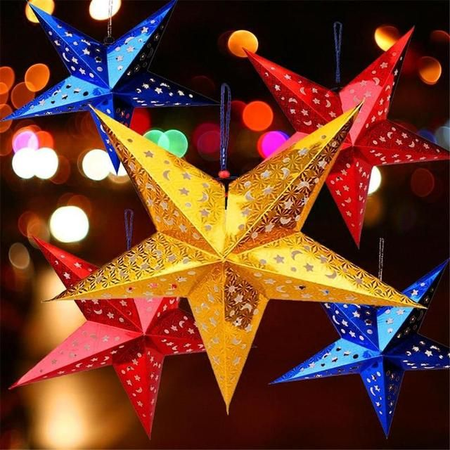 45cm Colorful Laser Five-pointed Star Ceiling Ornaments Christmas Decoration New Years Christmas Tree Decoration Navidad CMS2614
