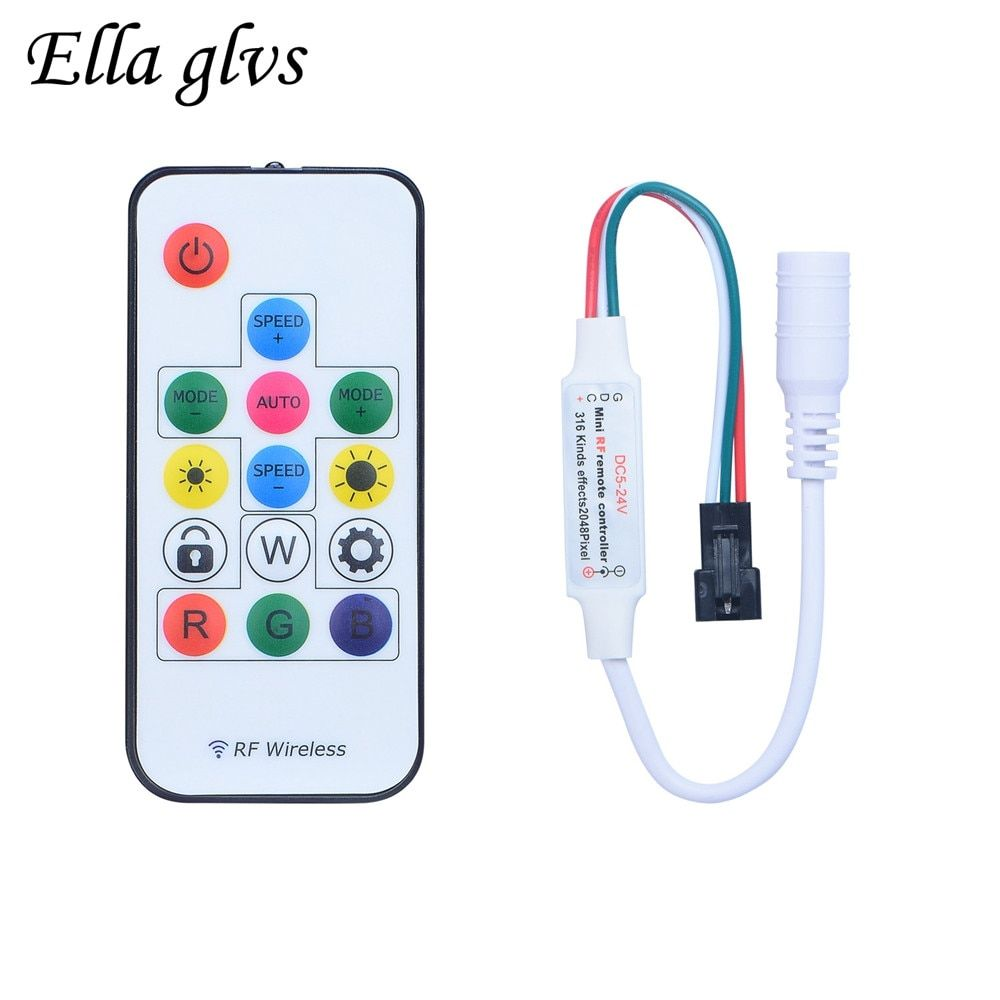 RF LED RGB Controller DC5V/12V 14 Key RGB 300 Kinds of Changes Effects For WS2811 WS2812 6812 1903 LED Strip.
