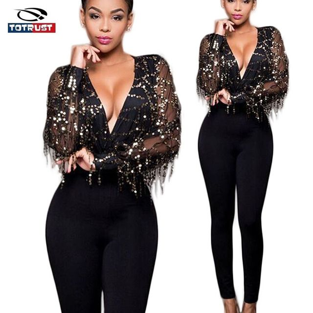 Sequined Jumpsuits For Woman 2016 Deep V Neck Sexy Bodycon Jumpsuit Romper Autumn Fitness Black Long Sleeve Party Women Jumpsuit