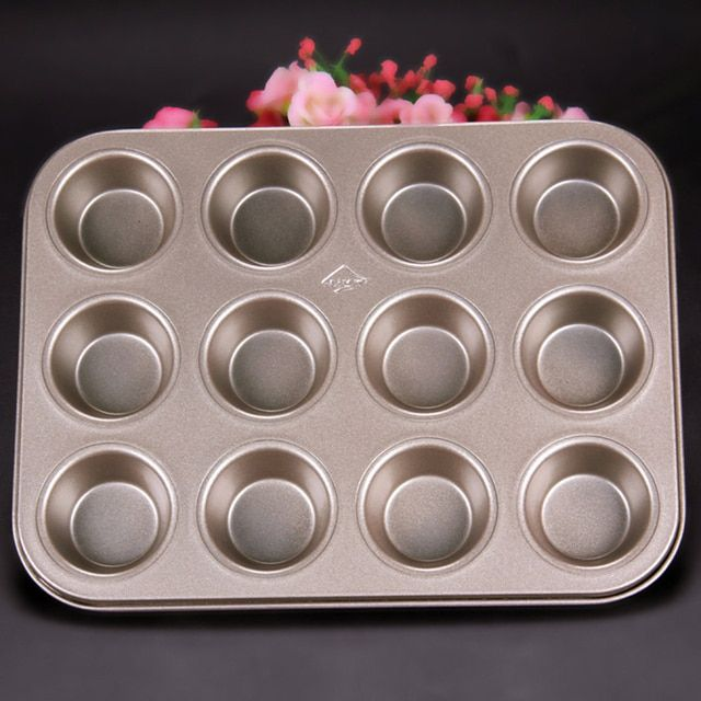 Carbon steel cupcake baking tray,12 mini cup cupcake shaped cake pan,nonstick cupcake baking tray 3d cupcake mold Muffin cups