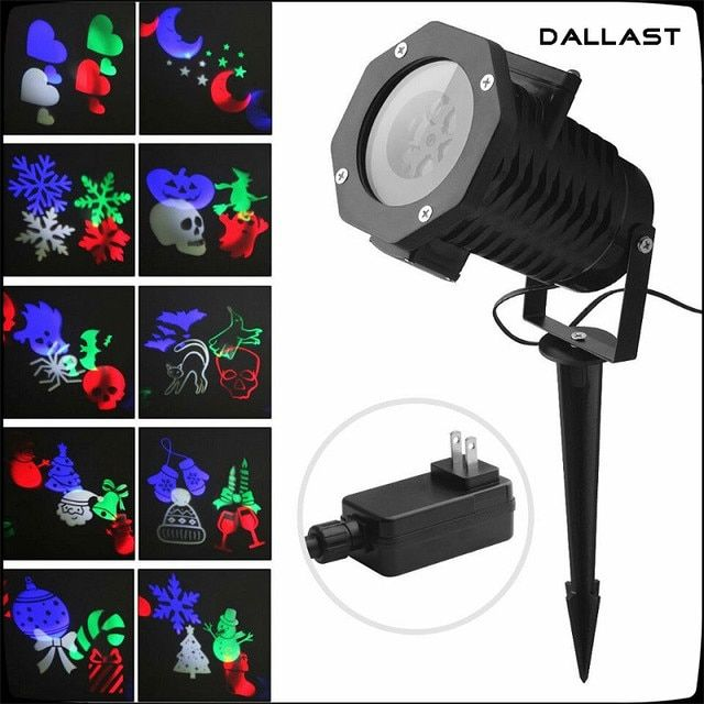 Christmas Snowflake Projector Waterproof 10 Lens LED Ambient Party Light Stage Lighting Kids Birthday Halloween DALLAST