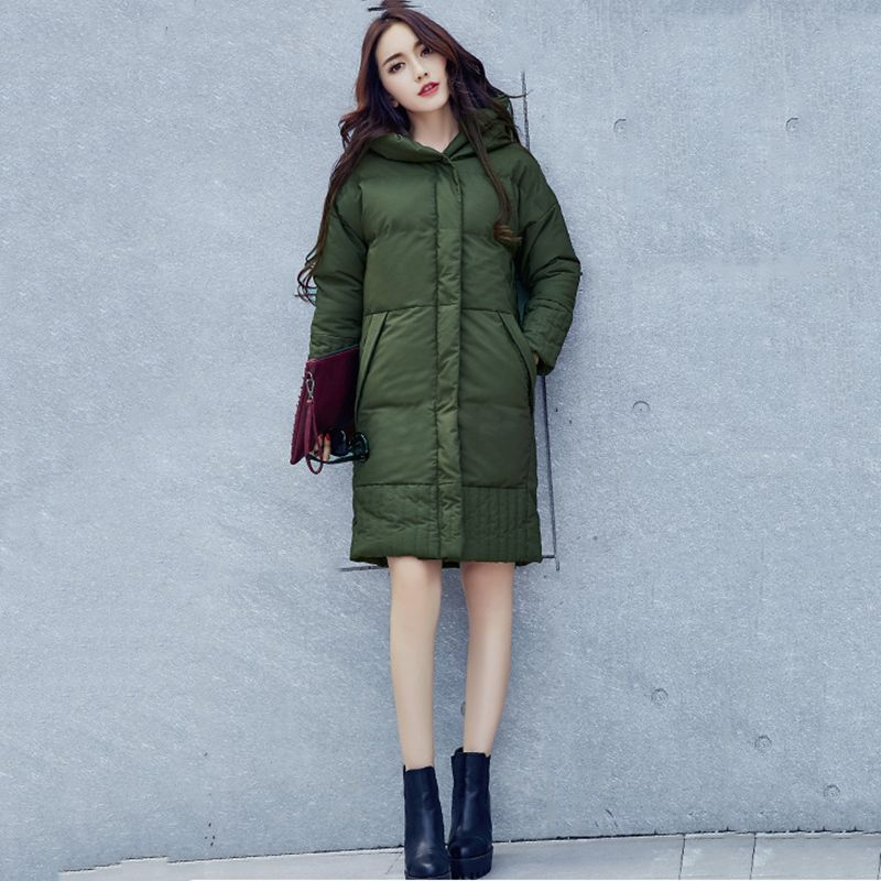 Full Sleeve Wide-waisted Solid snow warm female clothing Long Button Pockets Zippers army green jacket women parkas Thick coats