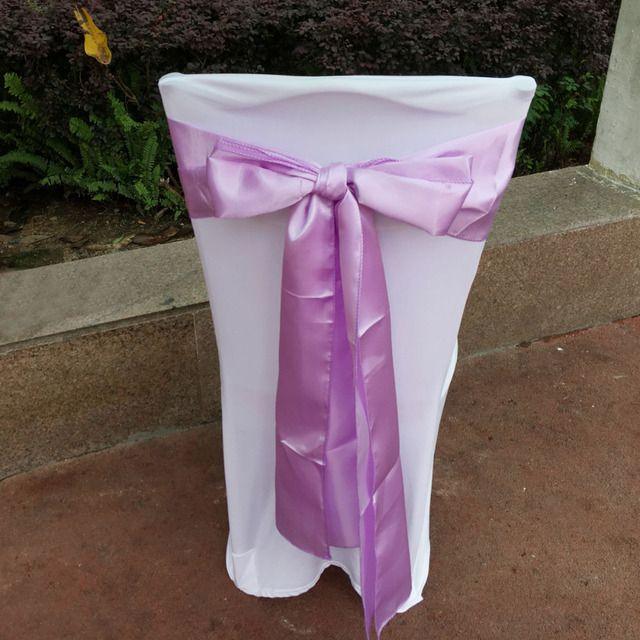 "DHL/EMS Free, 100 pcs/lot Lavender 6""x108"" Chair Bands Satin Chair Sashes Bow Wedding Banquet Supply Decoration"