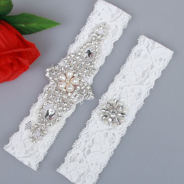 Real Wedding Sexy Vintage Garter Crystal Flower with Rhinestone Ivory Bridal Lace Garter Customized for Thanksgiving Day Wedding