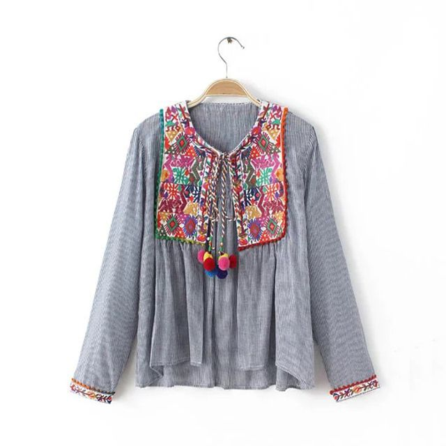 Autumn Embroidery Women Blouses Round Neck Long Sleeve Lace Up Colored balls Casual Striped Tops XRWM65
