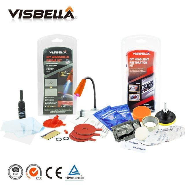 Visbella Windscreen Windshield repair kit Glass Restore tool and Headlamp Restoration kit for Scratch repair and Headlight Clean