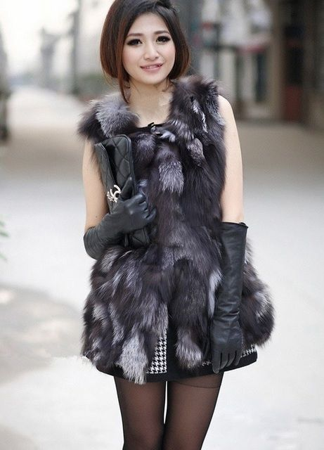 Genuine fox fur vest women long fox fur vest winter real fox fur coat Retail/Wholesale custom big size   Free shipping  H222