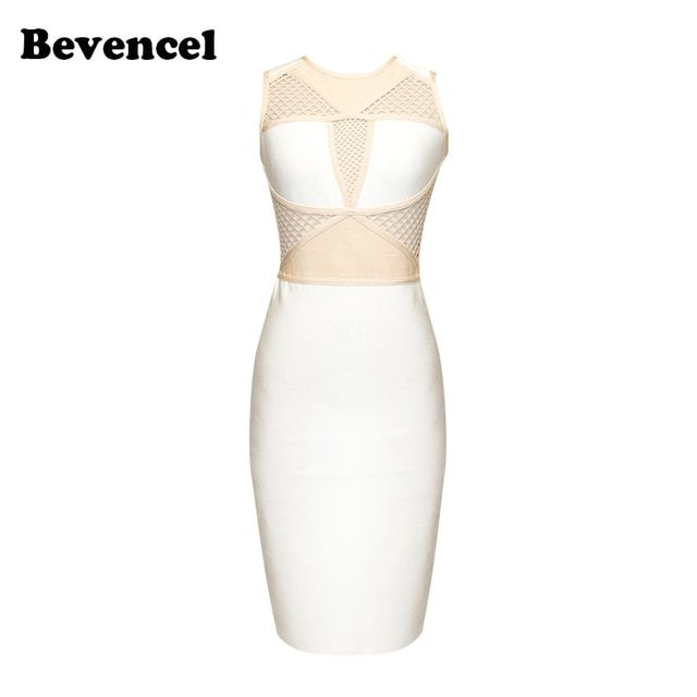 2017 Summer Women Sexy Bandage Dress White&Apricot O- Neck Mesh Grid Vestidos Mid-Calf Celebrity Club Dresses