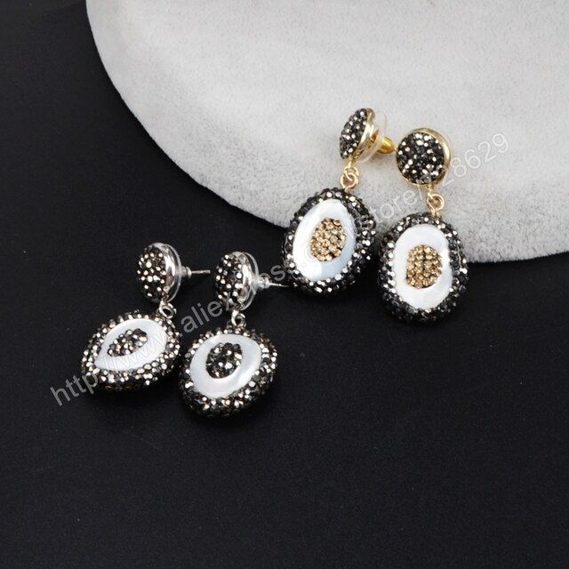 BOROSA Natural White Shell paved rhinestones dangle earrings shell pearl paved cube zircon earring gems jewelry for women JAB524