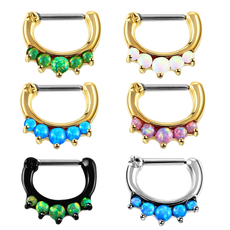 1PC Opal Nose Rings Real Septum Clickers Tribal Fan Pierced Nose Stud Piercings Nose Hoop Rings Fashion Opal Rings Body Jewelry