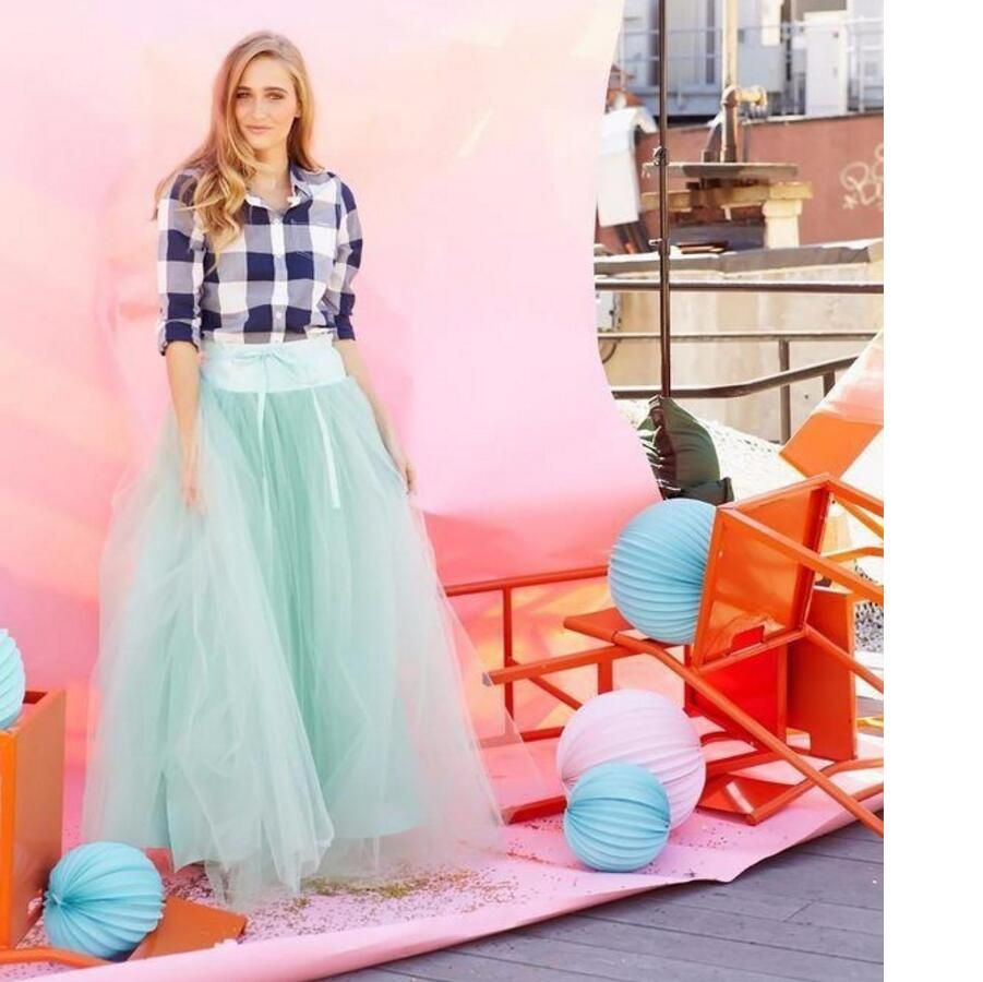Lovely Mint Tulle Skirt High A-line Puffy Four Layers US Tulle One Lining Women Tutu Skirts Long tulle waist Skirt