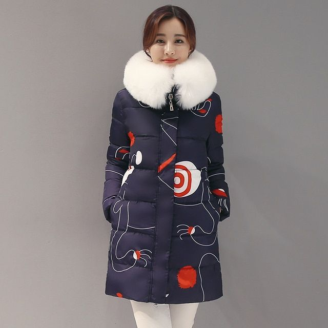 KUYOMENS new 2016 winter warm down Cotton jacket Women Faux fur collar Thick Slim hooded plus size Long down jacket Coat