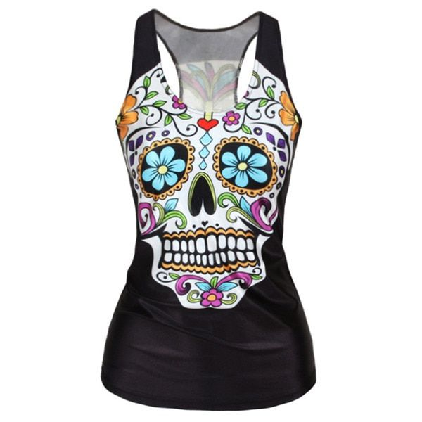 Fashion 21/24 Colors Women Girl Vest Tank Tops Print Blouses Gothic Punk Rock Party Clubwear T Shirts