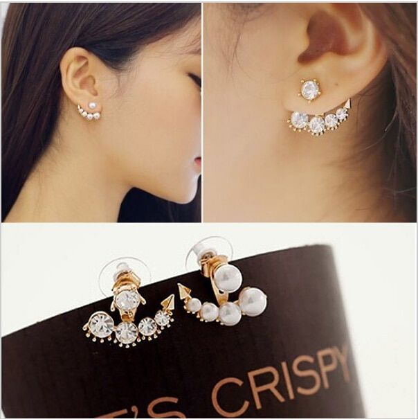 H:HYDE New arrival fashion beauty of television dramas with Sarah seul set auger pearl stud earrings for woman