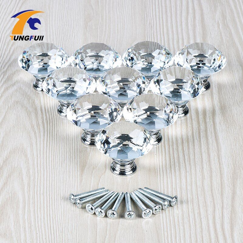 10PCS 40MM Clear Crystal Glass Diamond Cut Door Knobs Kitchen Cabinet Drawer knobs+Screw Home Decorating