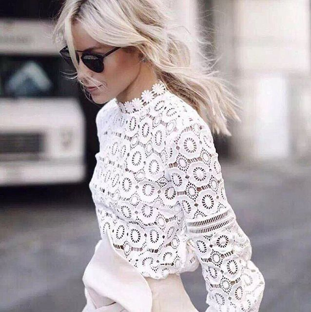 Women Sexy White Flower Crochet Lace Long Sleeve Blouse Top Ladies Designer Fashion Autumn French Lace Up Fabric Shirt S66