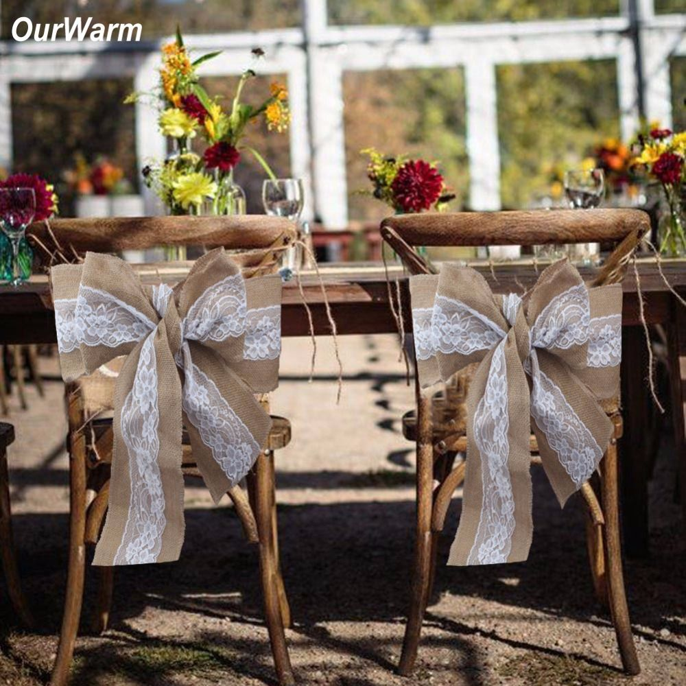 OurWarm 10PCS Burlap and Lace Wedding Chair Sashes Wedding Decoration Natural Chair Cover for Valentine's Day Home Dinner Decor