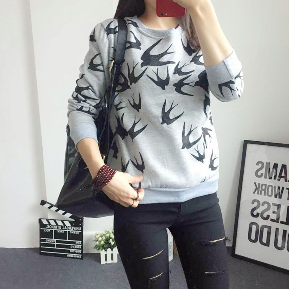 Pulovers Mujer 2016 Brand Hoodie Women Swallow Printing Casual Long Sleeve Sweatshirt Pullover Tracksuit Womens Hoodies Harajuku
